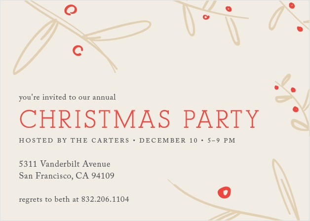 Make sure your guests get an invitation to your next holiday party using the Wheat and Cherry Christmas Party Invitation Cards.