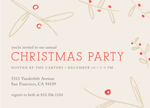 Make sure your guests get an invitation to your next holiday party using the Wheat and Cherry Christmas Party Invitations.
