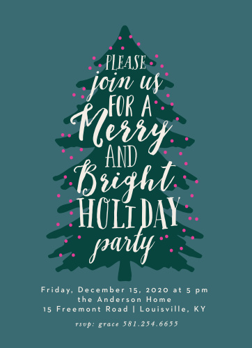 Make sure that the people you care about make it to your celebration with Merry Tree Holiday Christmas Party Invitations.