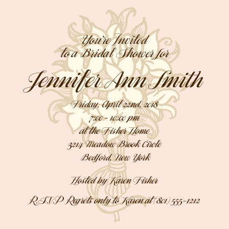 A soft and elegant invite with a bouquet of flowers as the watermark. This invite uses soft pink and cream colors for the elegant bride to be.