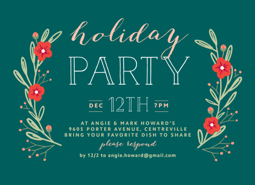 On a classic shade of holiday green, we've created just the card you need for your upcoming party: Laurels Holiday Party Invitations.