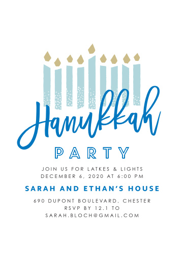 To celebrate Hanukkah this year, send out Modern Handwritten Hanukkah Holiday Party Invitations to your friends and family.