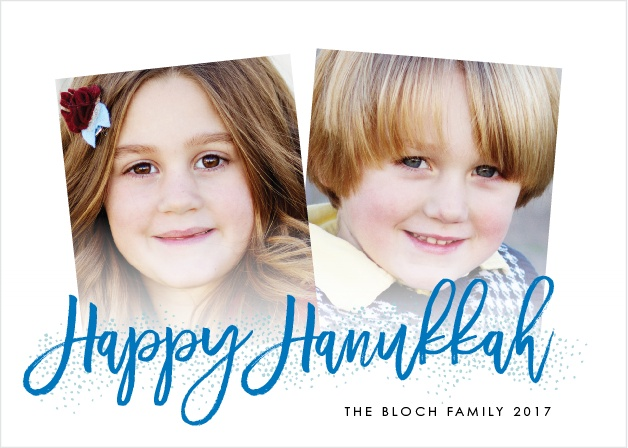 With two slightly askew photos serving as the centerpiece of our Handwritten Hanukkah Holiday Cards, you can be confident that your loved ones will appreciate the holiday greetings.