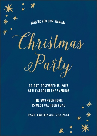 Choose the Painted Stars Foil Christmas Party Invitation Cards to welcome your friends and family to share your cheery holiday spirit with you this winter!