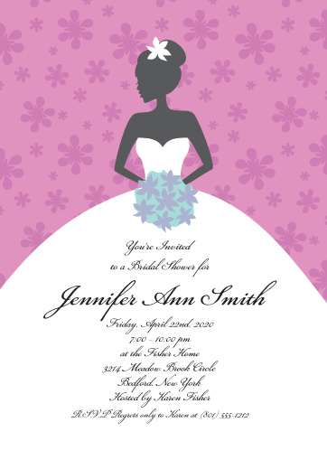 A beautiful bride is the main focus of this invitation that is simple and unique and fully customizable by you. It can be elegant or fun!