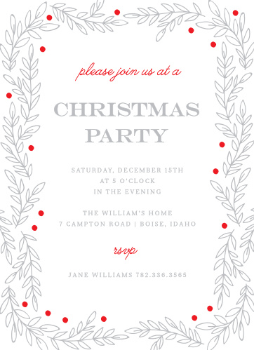 Invite your guests to your Rustic Holiday Party with the Rustic Vines Christmas Party Invitations.