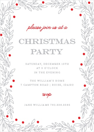 Invite your guests to your Rustic Holiday Party with the Rustic Vines Party Invitation Cards.