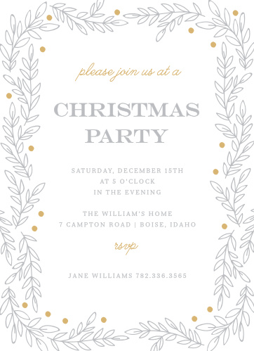 Invite your guests to your Rustic Holiday Party with the Rustic Vines Foil Christmas Party Invitations.