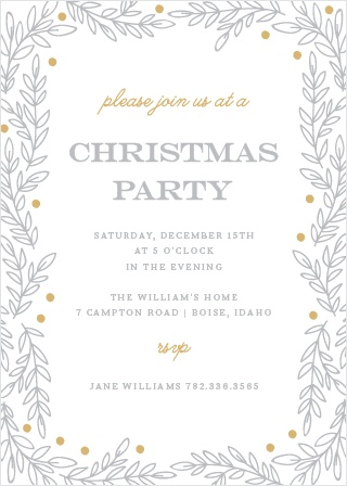 Invite your guests to your Rustic Holiday Party with the Rustic Vines Foil Party Invitation Cards.