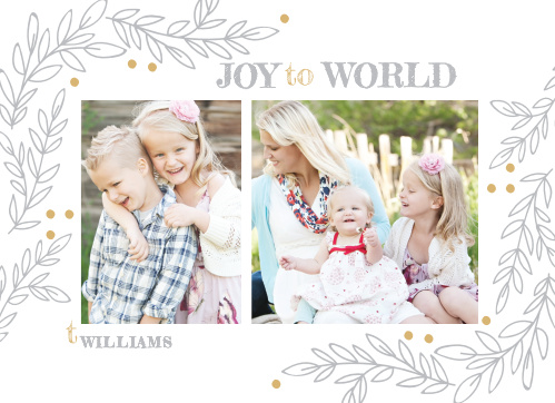 Show off your family this year with the Rustic Vines Foil Holiday Cards.