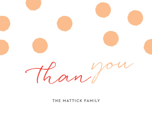 A flowing font titles our Multi Script Holiday Thank You Cards, alternating between a festive red and a pleasant peach before we sign the card off with your family name.