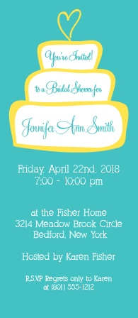 A customizable cake is the main focus of this invitation. You can change the colors and text. A simple and fun shower invite!