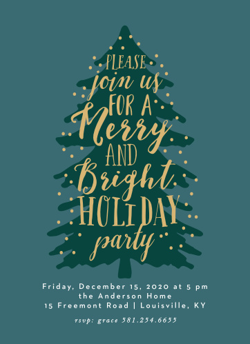 Make sure that the people you care about make it to your celebration with Merry Tree Foil Christmas Party Invitations.