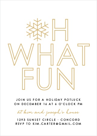 Make your loved ones feel as special as the snowflake on our Joyful Outline Foil Holiday Party Invitation Cards.