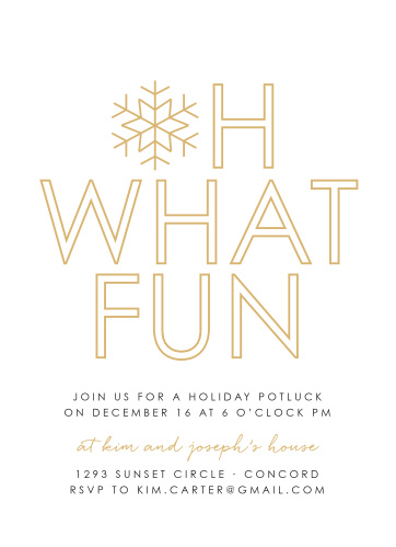 Make your loved ones feel as special as the snowflake on our Joyful Outline Foil Holiday Party Invitations.