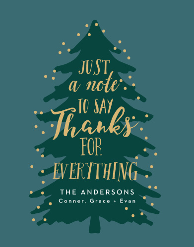 Make sure your gratitude cards are as cool as the season with Merry Tree Foil Christmas Party Thank You Cards.