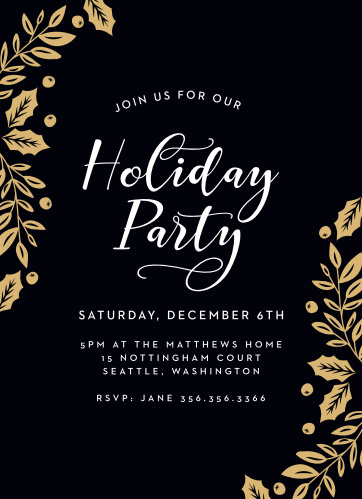 Elegant Holly Foil Holiday Party Invitations are as elegant as they are difficult to say.