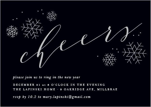 A rich black serves as the foundation for our Charcoal Chic Foil Holiday Party Invitations, graced by a collection of metallic foil snowflakes and beautiful typefaces.