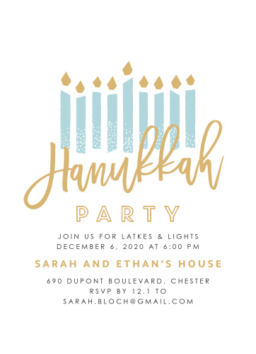To celebrate Hanukkah this year, send out Modern Handwritten Foil Hanukkah Party Invitations to your friends and family.
