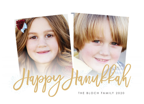 With two slightly askew photos serving as the centerpiece of our Modern Handwritten Foil Hanukkah Cards, you can be confident that your loved ones will appreciate the holiday greetings.