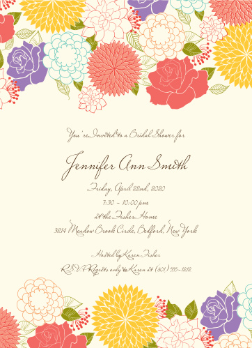 A vast variety of flowers adornes this invitation with character and personality. You can change the colors and text to customize it to your style!
