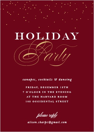 Festive Elegance Foil Christmas Party Invitation Cards, in a deep tuscany red and contrasted with foiled calligraphy in your choice of gold, silver, or rose gold, are a truly elegant way for you to welcome your loved ones this season.