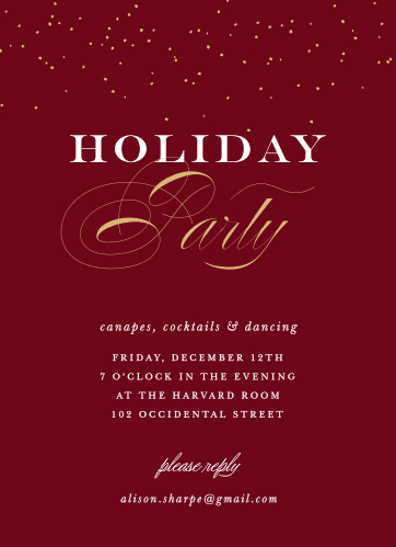 Festive Elegance Foil Holiday Party Invitations, in a deep tuscany red and contrasted with foiled calligraphy in your choice of gold, silver, or rose gold, are a truly elegant way for you to welcome your loved ones this season.