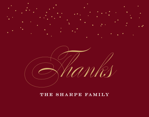 Festive Elegance Foil Christmas Thank You Cards, in a deep tuscany red and contrasted with calligraphy in your choice of gold, silver, or rose gold foil, are a truly elegant way for you to show your gratitude this season.