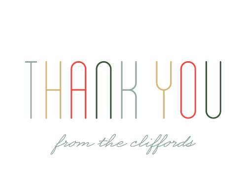 Send your gratitude using the cool style of the Merry Multicolored Thank You Card.