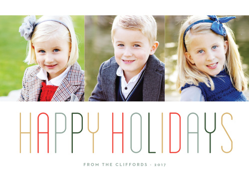 Spread the holiday cheer to your friends & family with the modern style of the Merry Multicolored Holiday Card