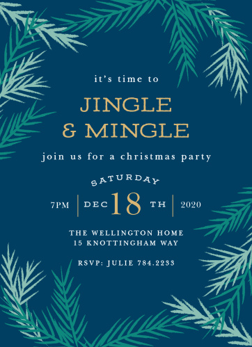 A dark cloud blue forms the background for your Cool Conifer Foil Christmas Party Invitations.