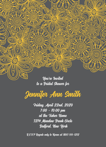 The ever popular grey and yellow combination is demonstrated in this invite.Fully customizable with an instant preview of your changes