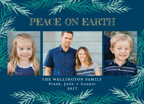 For our Cool Conifer Foil Christmas Cards, we've chosen three gorgeous colors to represent your well-wishes this special time of year: the background is the deep blue of a sky that is nearly, but not quite, night, while the conifers decorating the card are in various shades of sea-green.