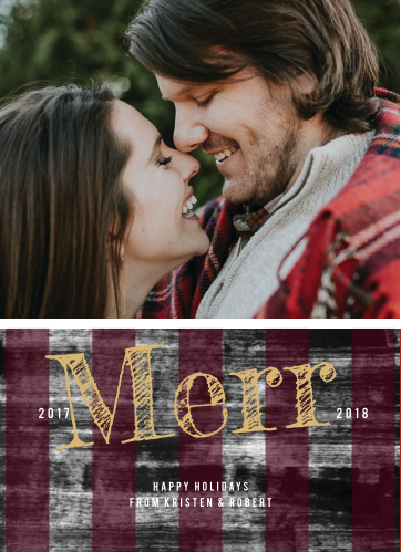 Commemorate your year with the rustic simplicity of the Buffalo Plaid Holiday Card.