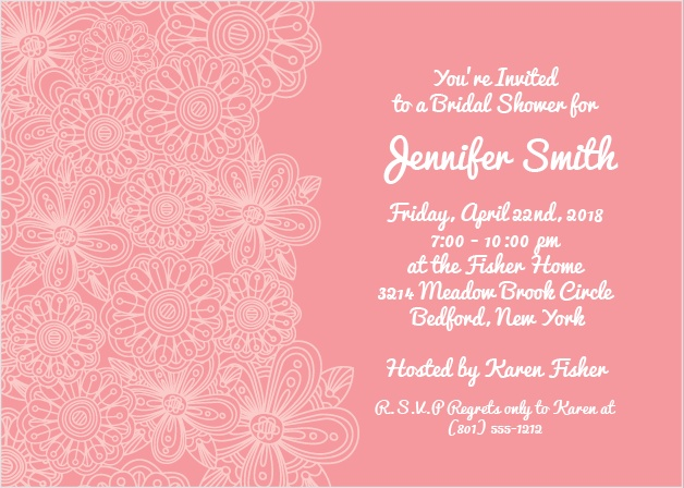 Cream flowers on a pink back drop, this invitation is beautiful, yet simple and tastefully designed. You can customize this invite to meet your style!