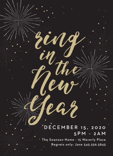 "Make sure that your invitations really ""pop"" with Festive Fireworks Holiday Party Invitations."