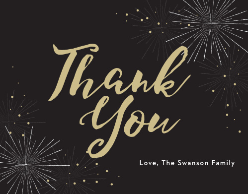 Make sure that your guests feel appreciated with Festive Fireworks Holiday Thank You Cards.