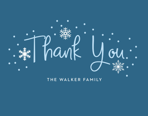 Handwritten Joy Holiday Thank You Cards are reminiscent of a beautiful winter day with a blue sky colored, handwritten font that's set against a lagoon blue background, surrounded by intricate illustrations of snow