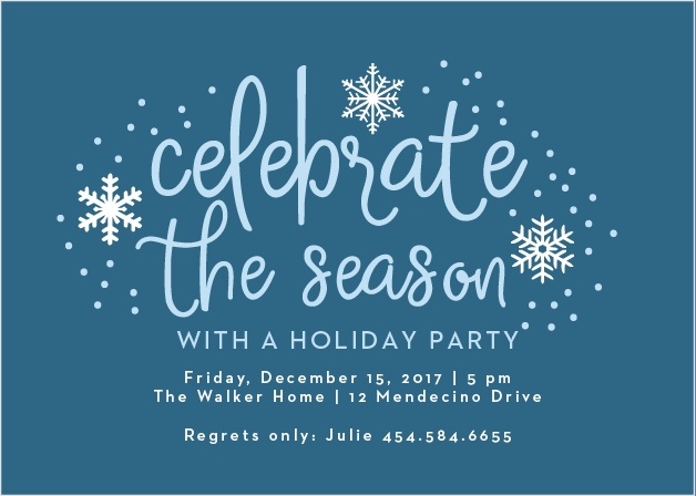 Handwritten Joy Holiday Party Invitation Cards are reminiscent of a beautiful winter day with a blue sky colored, handwritten font that's set against a lagoon blue background, surrounded by intricate illustrations of snow.