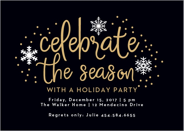 Handwritten Joy Foil Holiday Party Invitation Cards are reminiscent of a beautiful winter night with a gold-foiled, handwritten font that's set against a rich black background, surrounded by intricate illustrations of snow.