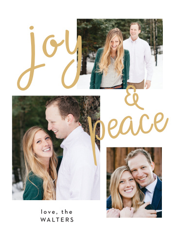 Handwritten Joy Holiday Cards are reminiscent of a beautiful winter day with a gold foiled, handwritten font that's set against a snow white background, and woven amongst a series of your own gorgeous personal photos.