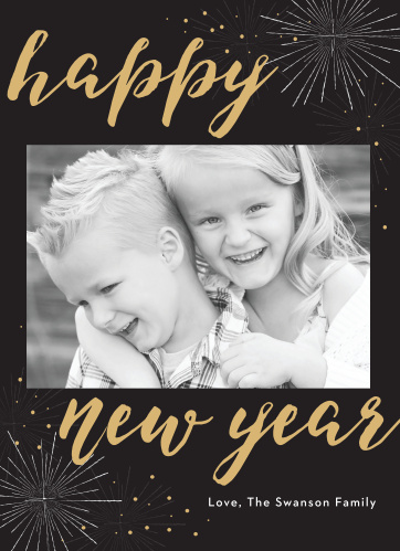 Our Festive Fireworks Foil New Year Cards will help your family take off this season.