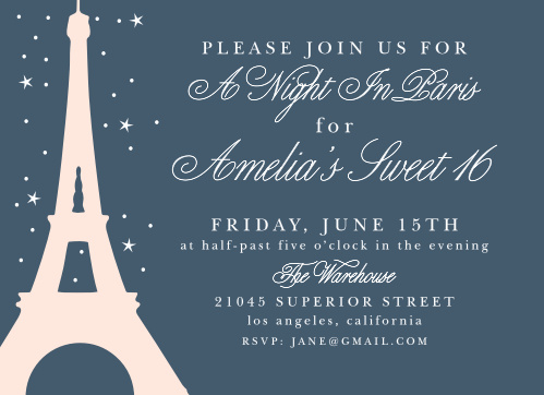 The background of our A Night in Paris Party Invitations is the beautiful color of a night sky, gently illuminated by distant stars.