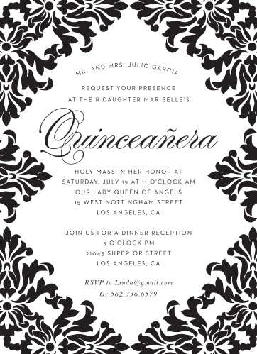 "Plush, rich black ""Velvet"" designs border the outside of these party invitations."