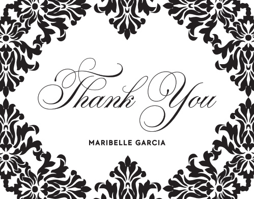 "Plush, rich black ""Velvet"" designs border the outside of these thank you cards."