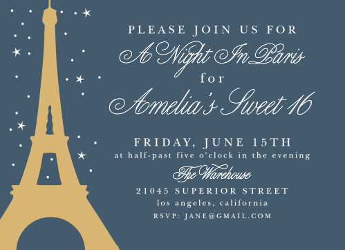 The background of our A Night in Paris Foil Party Invitations is the beautiful color of a night sky, gently illuminated by distant stars.