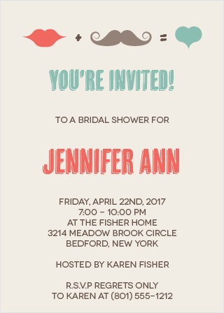 The Charming Mustache invitation is for hipsters! With a mustache, heart, and lips, the hipster bride can appreciate this unique design filled with personality! You can customize this invite to meet your style!