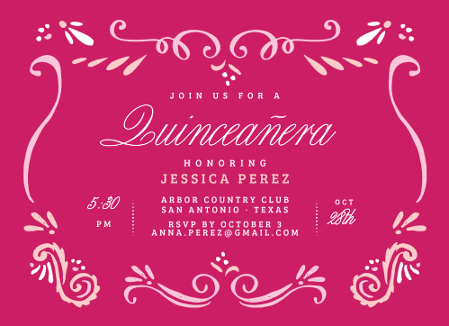 Bandana Paisley Party Invitations provide a clever collection of swirling shapes to set the tone for your daughter's Quinceañera, and the fuschia pink background they've been placed against creates a gorgeous contrast with the lighter pinks and whites.