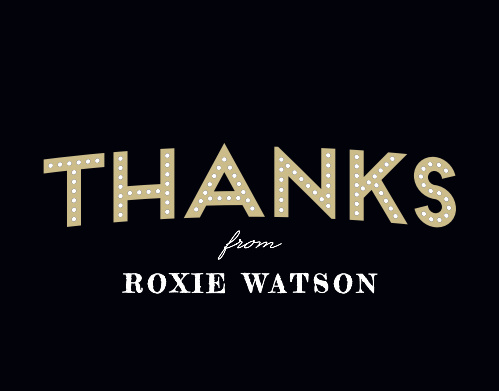"""Thanks"" is written in bright, bold lettering on our Broadway Bravo Thank You Cards, in the style of a classic Broadway billboard."