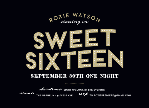 Make her the star of the night with our Broadway Bravo Sweet Sixteen Party Invitations